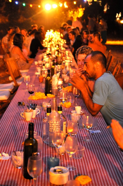the long table of guests